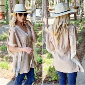 Mocha tunic with lace trim